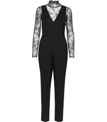 tabetha lula lace jersey jumpsuit svart french connection