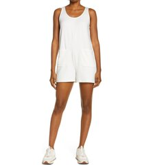women's madewell mwl superbrushed pull-on romper, size medium - white