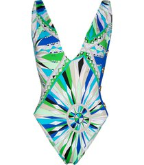 emilio pucci kaleido graphic-print swimsuit - green
