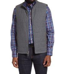 men's peter millar reversible stretch cotton flannel vest, size xx-large - grey