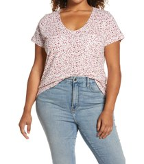 plus size women's caslon rounded v-neck tee, size 1x - none
