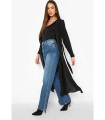 chiffon jas met ceintuur en waterval kraag, black