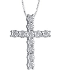 diamond cross pendant necklace (1/4 ct. t.w.) in sterling silver