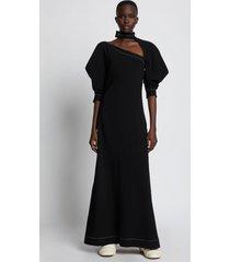 proenza schouler crepe puff sleeve cut out dress black 10