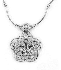 collana con ciondolo a forma di fiore vintage in argento antico con pendente etnico in argento tibetano
