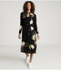 reiss arley - floral printed midi dress in black, womens, size 14