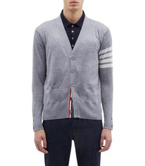 stripe sleeve wool cardigan