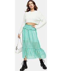 green gingham spot tiered skirt - green