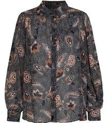 blouse met bloemenprint geo  zwart