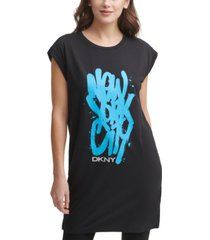 dkny nyc graffiti logo tunic