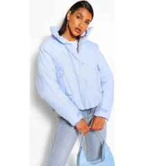 gewatteerde jas met hoge hals met zakdetail, blauw