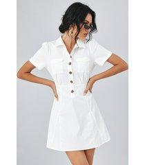 yoins classic cuello bolsillo botón delantero manga corta mini vestido