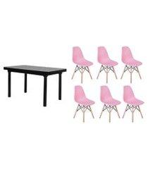 kit mesa de jantar frança 160x80 preta + 06 cadeiras charles eames - rosa