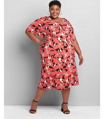 lane bryant women's printed knit kit flutter-sleeve midi dress 10/12 coral floral