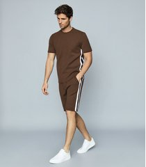 reiss daniel - striped jersey shorts in chocolate, mens, size xxl