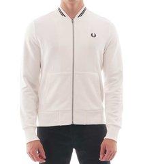 fred perry zip through sweatshirt - snow white j7504