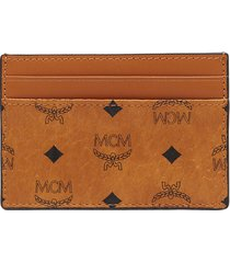 men's mcm mini visetos coated canvas card case - brown