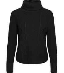 cable knit turtleneck sweater turtleneck polotröja svart gap