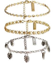 inc international concepts two-tone 3-pc. set palm leaf charm chain-link ankle bracelets, created for macy's