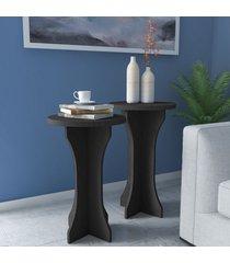 mesas de canto conjunto 2 peças luck 100% mdf preto - artely