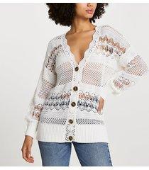 river island womens white crochet cardigan