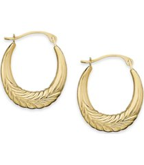 10k gold earrings, chevron hoop earrings