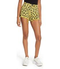 women's blanknyc barrow high waist leopard print denim shorts, size 30 - green