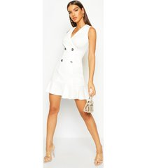 double breasted frill bottom blazer dress, ivory