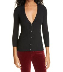 women's l'agence isabella v-neck cardigan sweater, size small - black