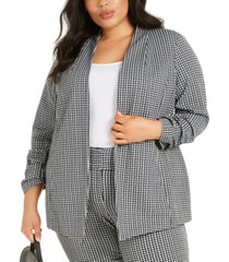 alfani plus size gingham ruched-sleeve jacket, created for macy's