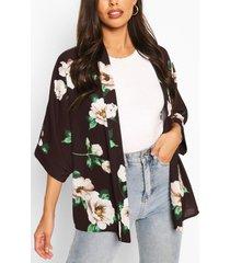 bloemenprint kimono, zwart