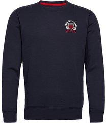 d1. gant crest c-neck sweat-shirt trui blauw gant