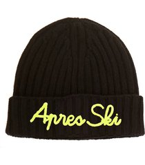 green blended cashmere hat apres ski yellow embroidery