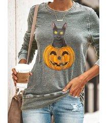camicetta casual a maniche lunghe con stampa gatto zucca plus