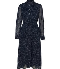d1. french dot chiffon dress jurk knielengte blauw gant