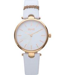 pigalle orologio in acciaio gold e cinturino bianco con catenina con quadrante bianco per donna