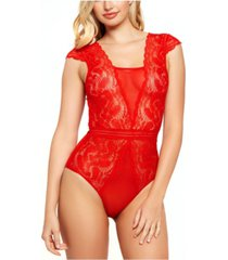 women's stretch lace and mesh bodysuit