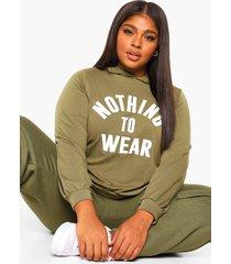 plus oversized nothing to wear hoodie, khaki