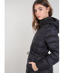 casaco feminino puffer com capuz preto