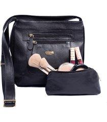 kit brilho da pele bolsa transversal de couro preta e porta maquiagem de couro
