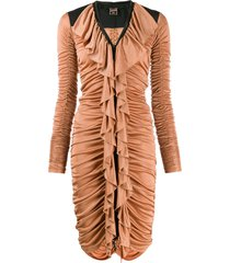 jean paul gaultier pre-owned 1990's ruched dress - brown