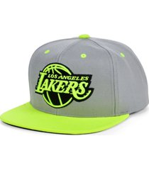 mitchell & ness los angeles lakers volt snapback cap