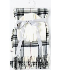 cora plaid scarf set - ivory