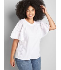 lane bryant women's flutter sleeve top with mix trim 38/40 white