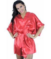 robe em cetim estilo sedutor com fita para amarrar vermelho - ek5013 - vermelho - feminino - cetim - dafiti