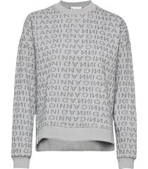 jacquard isoli sweat-shirt tröja grå ganni
