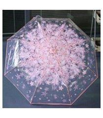 folding cereja claro guarda-chuva trºs folding 8 rib windproof guarda-chuva