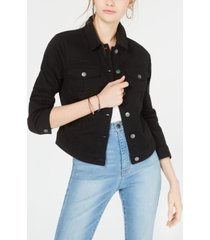 love, fire juniors' tinseltown black high-low jean jacket