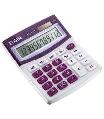 calculadora de mesa elgin mv4127 12 dígitos branca e roxa