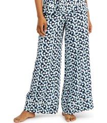 calvin klein printed wide-leg woven pajama pants